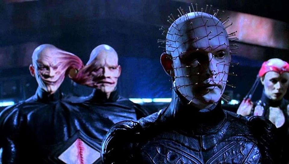 A still from Hellraiser: Bloodline shows Pinhead and the Cenobites standing on a space station