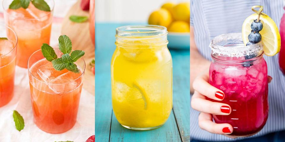 """<p>For us, there's not a single drink that tastes as good as homemade lemonade. With the perfect balance of citrus-sweet flavours, there's so many ways to elevate your <a href=""""https://www.delish.com/uk/cocktails-drinks/a33333195/easy-homemade-lemonade-recipe/"""" rel=""""nofollow noopener"""" target=""""_blank"""" data-ylk=""""slk:classic lemonade recipe"""" class=""""link rapid-noclick-resp"""">classic lemonade recipe</a>. We're talking <a href=""""https://www.delish.com/uk/cocktails-drinks/a33333158/easy-strawberry-lemonade-recipe/"""" rel=""""nofollow noopener"""" target=""""_blank"""" data-ylk=""""slk:Strawberry Lemonade"""" class=""""link rapid-noclick-resp"""">Strawberry Lemonade</a>, <a href=""""https://www.delish.com/uk/cocktails-drinks/a32233089/sangria-lemonade-recipe/"""" rel=""""nofollow noopener"""" target=""""_blank"""" data-ylk=""""slk:Sangria Lemonade"""" class=""""link rapid-noclick-resp"""">Sangria Lemonade</a> and even <a href=""""https://www.delish.com/uk/cooking/recipes/g36107322/pink-lemonade/"""" rel=""""nofollow noopener"""" target=""""_blank"""" data-ylk=""""slk:Pink Lemonade"""" class=""""link rapid-noclick-resp"""">Pink Lemonade</a>. But it goes without saying, you'll need a standard go-to recipe. And luckily for you, we've got <a href=""""https://www.delish.com/uk/cocktails-drinks/a33333195/easy-homemade-lemonade-recipe/"""" rel=""""nofollow noopener"""" target=""""_blank"""" data-ylk=""""slk:one"""" class=""""link rapid-noclick-resp"""">one</a>! For a range of easy-to-make lemonade recipes, keep reading for an insight into some of our favourites. (We've even thrown in a few boozy options, too). </p>"""