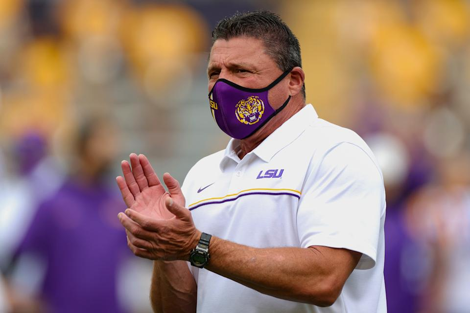 BATON ROUGE, LOUISIANA - APRIL 17: Head coach Ed Orgeron of the LSU Tigers looks on during the spring game at Tiger Stadium on April 17, 2021 in Baton Rouge, Louisiana. (Photo by Carmen Mandato/Getty Images)