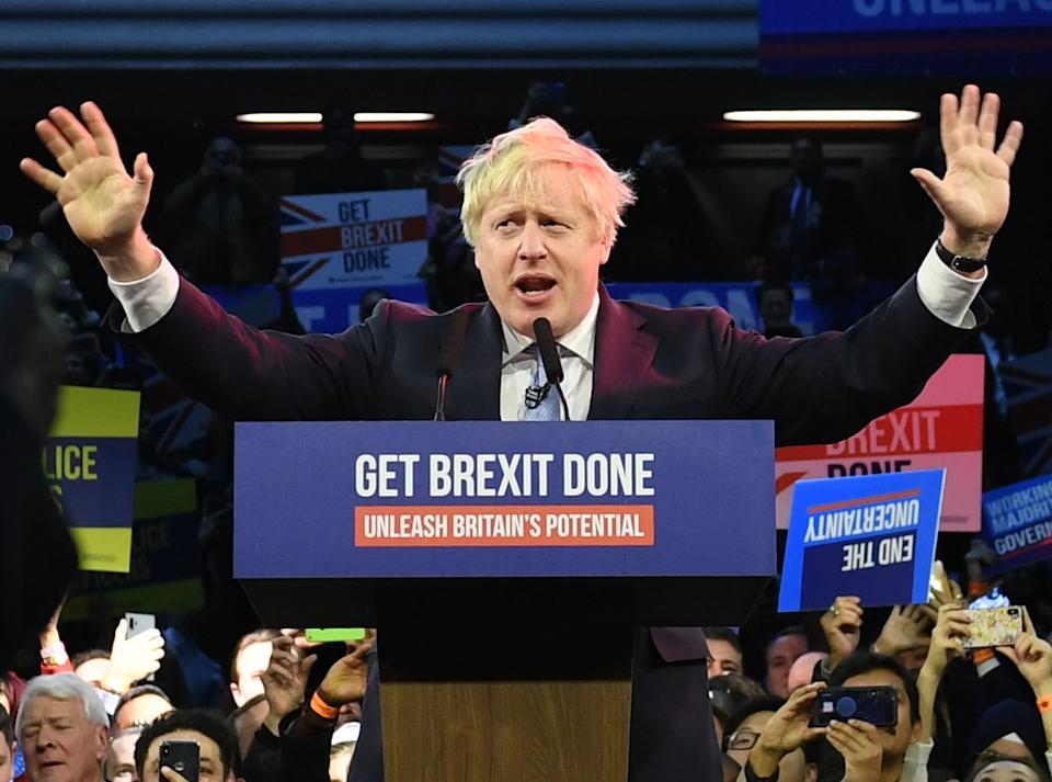 Prime Minister Boris Johnson during a visit to the Copper Box Arena in Queen Elizabeth Olympic Park, London, while on the General Election campaign trail.