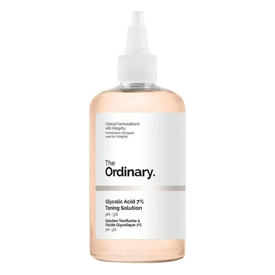 """<p><strong>The Ordinary</strong></p><p>amazon.com</p><p><strong>$15.61</strong></p><p><a href=""""https://www.amazon.com/dp/B071914GGL?tag=syn-yahoo-20&ascsubtag=%5Bartid%7C2089.g.22530244%5Bsrc%7Cyahoo-us"""" rel=""""nofollow noopener"""" target=""""_blank"""" data-ylk=""""slk:Shop Now"""" class=""""link rapid-noclick-resp"""">Shop Now</a></p><p>This toner has rave reviews from Amazon shoppers for its exfoliating powers, which you can thank glycolic acid for. But that's not the only ingredient that makes this under-$20 toner a complexion powerhouse: It's also packed with <a href=""""https://www.bestproducts.com/beauty/a34509250/glycerin-products-for-skin/"""" rel=""""nofollow noopener"""" target=""""_blank"""" data-ylk=""""slk:glycerin"""" class=""""link rapid-noclick-resp"""">glycerin</a>, <a href=""""https://www.bestproducts.com/beauty/g1378/aloe-vera-lotion-cream/"""" rel=""""nofollow noopener"""" target=""""_blank"""" data-ylk=""""slk:aloe vera"""" class=""""link rapid-noclick-resp"""">aloe vera</a>, <a href=""""https://theklog.co/ginseng-skin-benefits/"""" rel=""""nofollow noopener"""" target=""""_blank"""" data-ylk=""""slk:ginseng root extract"""" class=""""link rapid-noclick-resp"""">ginseng root extract</a>, and more, to improve the look and feel of your skin. </p>"""