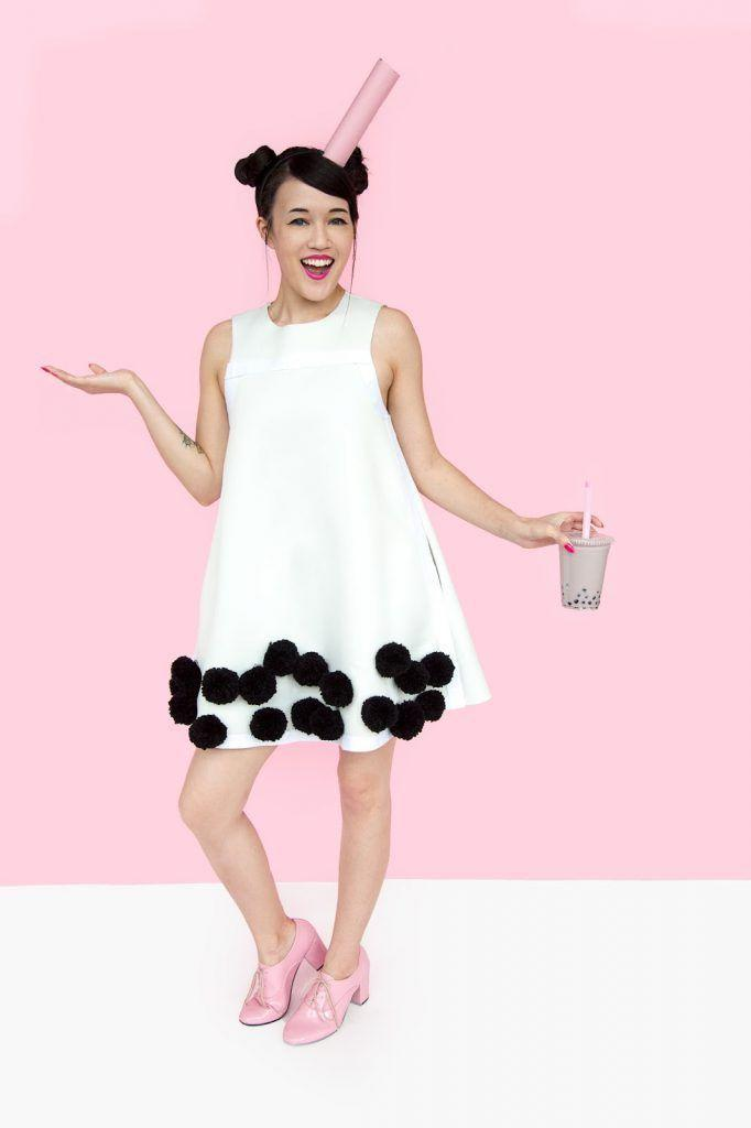 """<p>Quicker than you can say """"brain freeze"""" you'll have this last-minute costume assembled. </p><p><strong>Get the tutorial at <a href=""""http://www.awwsam.com/2016/10/diy-bubble-tea-boba-halloween-costume.html"""" rel=""""nofollow noopener"""" target=""""_blank"""" data-ylk=""""slk:Aww Sam"""" class=""""link rapid-noclick-resp"""">Aww Sam</a>.</strong></p><p><a class=""""link rapid-noclick-resp"""" href=""""https://go.redirectingat.com?id=74968X1596630&url=https%3A%2F%2Fwww.walmart.com%2Fbrowse%2Fparty-occasions%2Fwrapping-paper%2Fpink%2F2637_9524130_9402292_3028287%2FY29sb3I6UGluawieie&sref=https%3A%2F%2Fwww.countryliving.com%2Fdiy-crafts%2Fg4571%2Fdiy-halloween-costumes-for-women%2F"""" rel=""""nofollow noopener"""" target=""""_blank"""" data-ylk=""""slk:SHOP PINK WRAPPING PAPER"""">SHOP PINK WRAPPING PAPER</a><br></p>"""