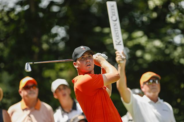 """<div class=""""caption""""> Matthew Wolff hits a shot during the 2018 Division I Men's Golf Team Match Play Championship. </div> <cite class=""""credit"""">Shane Bevel</cite>"""
