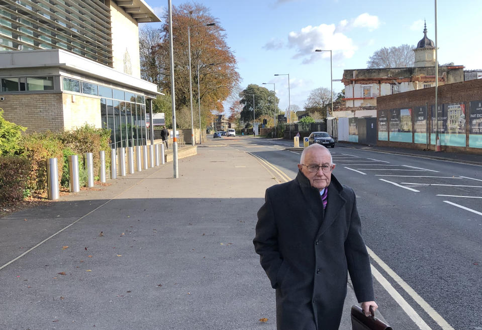 Patrick McLarry, 71, leaving Salisbury Crown Court after he pleaded guilty to defrauding the pension scheme of the Yateley Industries for the Disabled, the charity he ran, of ??250,000.