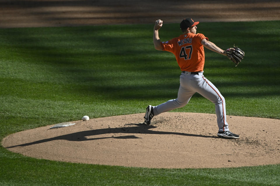 Baltimore Orioles starting pitcher John Means (47) delivers during the first inning of the second baseball game of a doubleheader against the Chicago White Sox, Saturday, May 29, 2021, in Chicago. (AP Photo/Matt Marton)