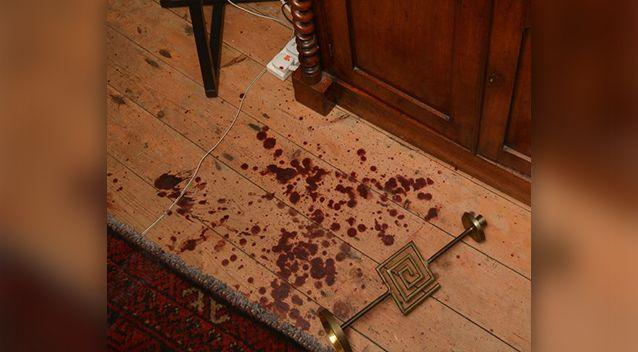 Blood at the crime scene. Photo: PA