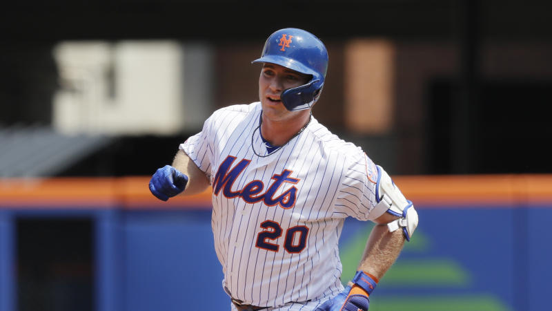 New York Mets Pete Alonso rounds the bases with a two run home run against the Miami Marlins in the first inning of a baseball game, Wednesday, Aug. 7, 2019 in New York. (AP Photo/Mark Lennihan)
