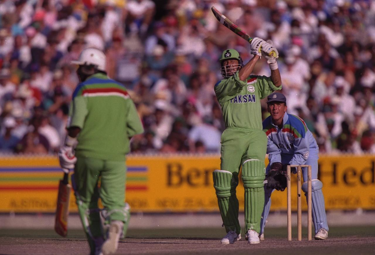 1992:  Imran Khan captain of Pakistan , in batting action during the final of the Cricket World Cup between Pakistan and England at the MCG in Melbourne.  The wicketkeeper is Alec Stewart and the non-striking batsman is Javed Miandad.  Pakistan won the match to lift the trophy for the first time.