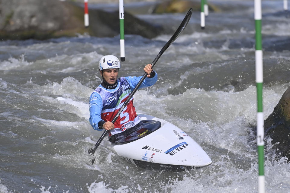 IVREA, ITALY - MAY 08: Maialen Chourraut of Spain in action during the Canoe Slalom European Championships on May 8, 2021 in Ivrea, Italy. (Photo by Stefano Guidi/Getty Images)