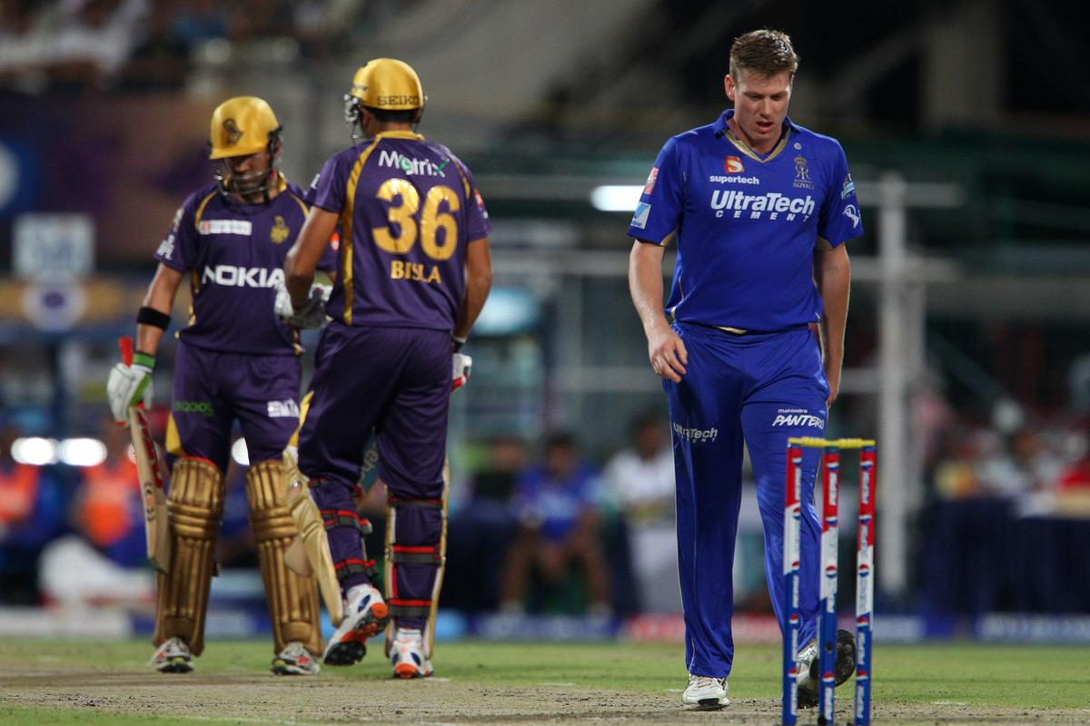 James Faulkner walks back during match 47 of the Pepsi Indian Premier League between The Kolkata Knight Riders and the Rajasthan Royals held at the Eden Gardens Stadium in Kolkata on the 3rd May 2013..Photo by Ron Gaunt-IPL-SPORTZPICS  ..Use of this image is subject to the terms and conditions as outlined by the BCCI. These terms can be found by following this link:..https://ec.yimg.com/ec?url=http%3a%2f%2fwww.sportzpics.co.za%2fimage%2fI0000SoRagM2cIEc&t=1495529747&sig=NOqVS1rwILMmlYyZzy.CJA--~C