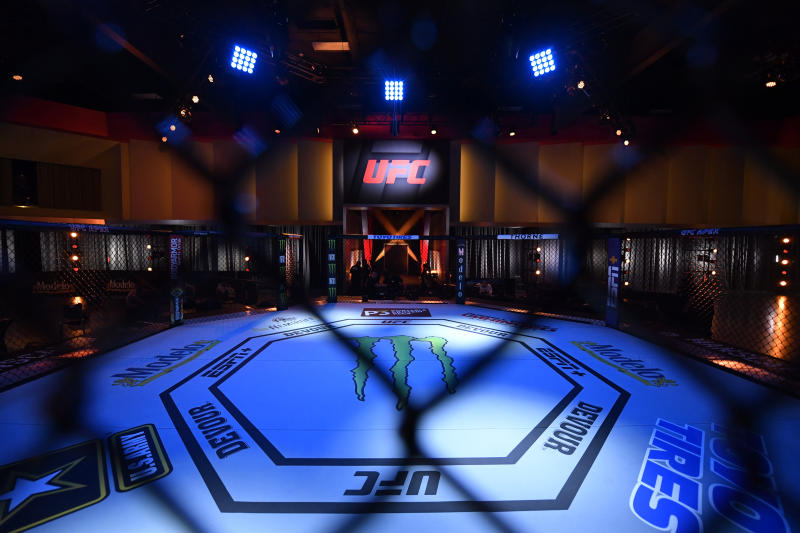LAS VEGAS, NEVADA - JUNE 06: In this handout provided by UFC, A general view of the Octagon prior to the start of the UFC 250 event at UFC APEX on June 06, 2020 in Las Vegas, Nevada. (Photo by Jeff Bottari/Zuffa LLC via Getty Images)
