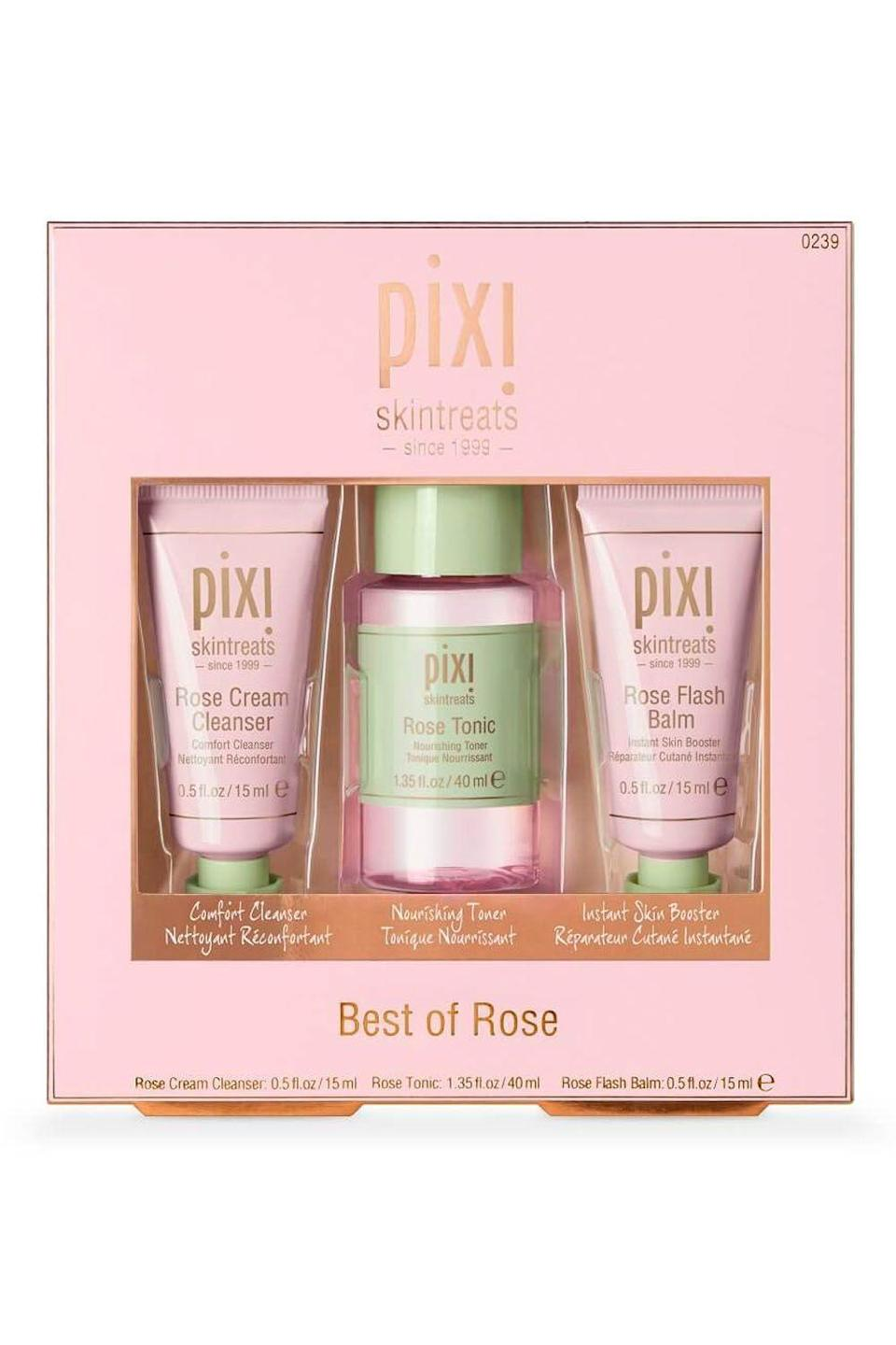 """<p><strong>pixi</strong></p><p>pixibeauty.com</p><p><strong>$22.00</strong></p><p><a href=""""https://go.redirectingat.com?id=74968X1596630&url=https%3A%2F%2Fwww.pixibeauty.com%2Fproducts%2Fbest-of-rose%3Fvariant%3D12418295562336&sref=https%3A%2F%2Fwww.cosmopolitan.com%2Fstyle-beauty%2Fbeauty%2Fg33482166%2Feditor-picks-cosmo-klarna-hauliday-2020%2F"""" rel=""""nofollow noopener"""" target=""""_blank"""" data-ylk=""""slk:Shop Now"""" class=""""link rapid-noclick-resp"""">Shop Now</a></p><p>""""I can't wait to get my skin back under control after a super-weird summer, so being able to slather on some of the best that Pixi has to offer—a cream <a href=""""https://www.cosmopolitan.com/style-beauty/beauty/advice/a5246/face-wash/"""" rel=""""nofollow noopener"""" target=""""_blank"""" data-ylk=""""slk:cleanser"""" class=""""link rapid-noclick-resp"""">cleanser</a>, a toner, and a facial balm—all in one kit, is <strong>legit going to bring my skin back to life.""""</strong>—<em>Jillian Sellers, photo producer and editor</em></p><p><strong><strong><strong>💫</strong></strong>PROMOTION:</strong> Get 20% off the Best of Pixi Kit with the code <strong>KLARNAHAULIDAY</strong>.<br></p>"""