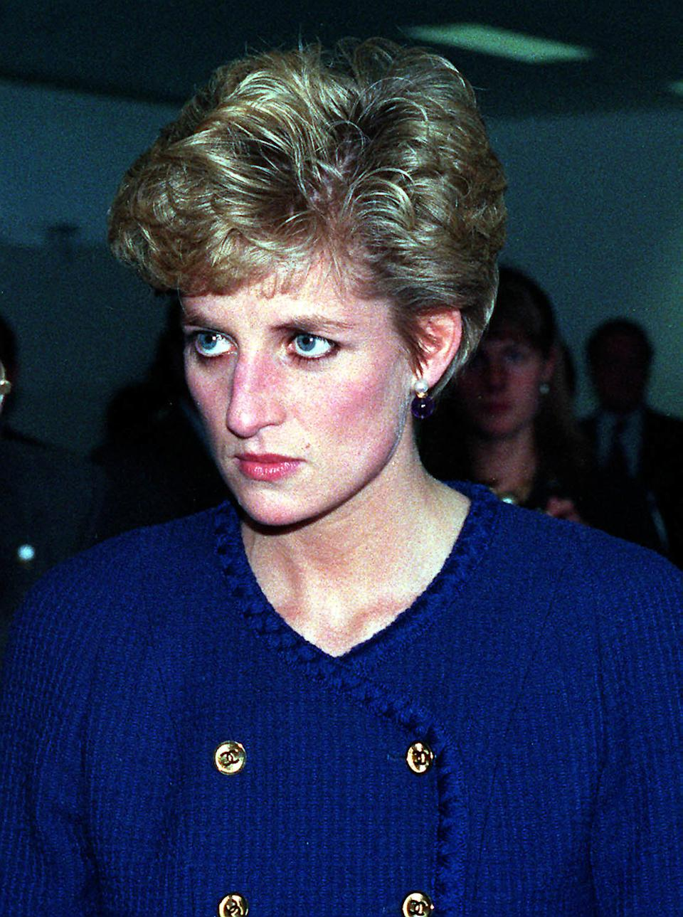 1992: The Princess of Wales during a visit to a factory in South Shields as the announcement of her marriage separation from the Prince of Wales was made by the Prime Minister, John Major, in the House of Commons.