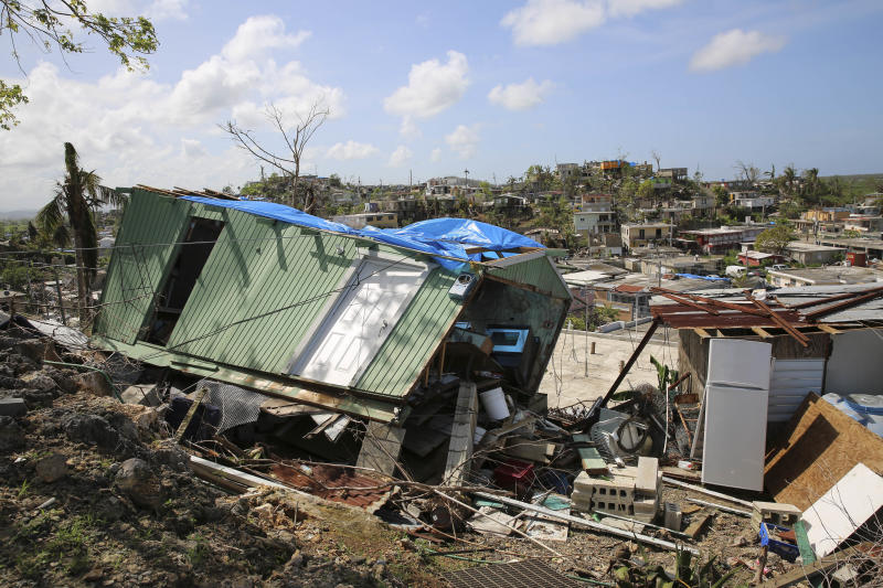 A house flattened by Hurricane Maria in Villa Hugo 2, a community within the city of Canóvanas, Puerto Rico. (Carolina Moreno/HuffPost)