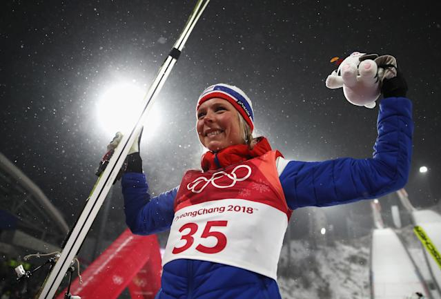 Maren Lundby is one of nine gold medalists for Norway, which is dominating this year's Winter Olympics.