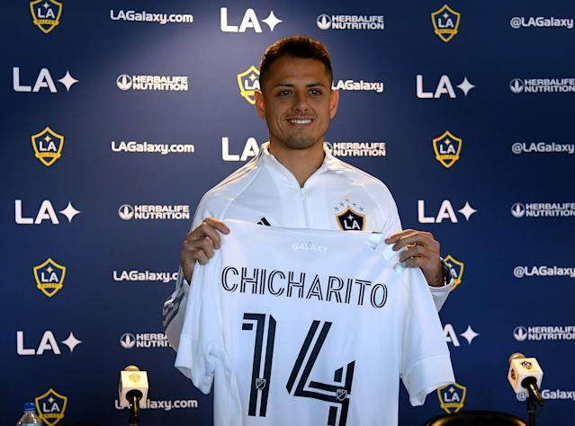 "Javier ""Chicharito"" Hernandez, the Mexican national team's all-time top scorer, was introduced as an LA Galaxy player this week. (Harry How/Getty)"