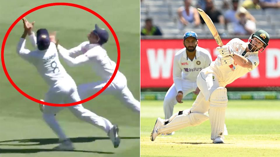 Seen here, Matthew Wade is caught out after a chaotic moment in the Boxing Day Test.