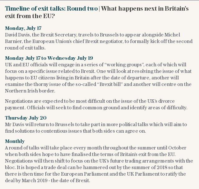 Timeline of exit talks: Round two | What happens next in Britain's exit from the EU?