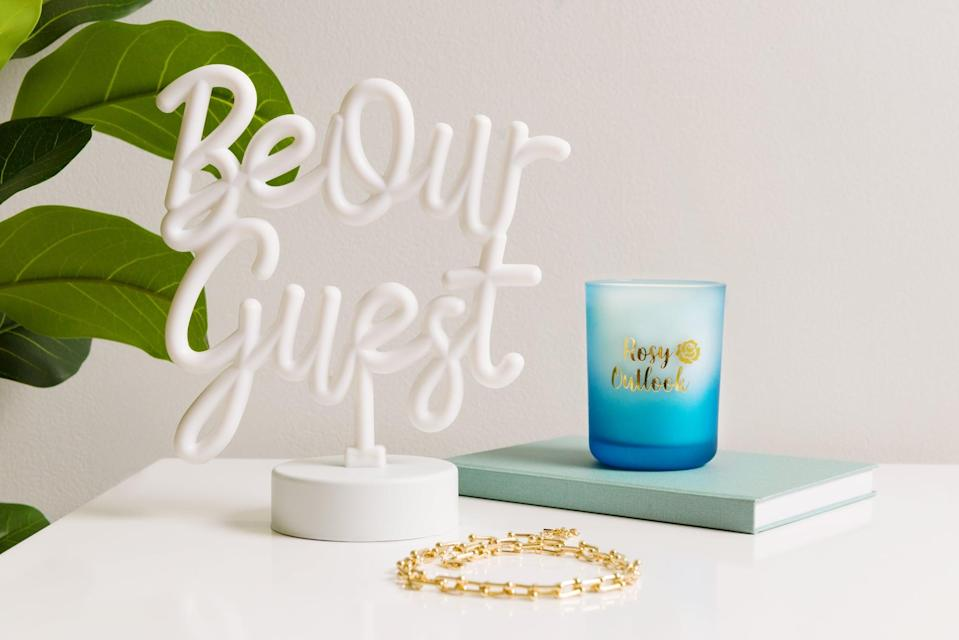 <p>The <span>Disney Princess X POPSUGAR Belle Be Our Guest Neon Desktop Lamp</span> ($25) is perfect as an accent piece since it's only 8.2 inches wide and 9.2 inches tall. It's so lightweight, it only weighs less than a pound, so you can place it on almost any surface. </p>