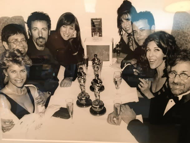 """<p>Rita Wilson, on a particularly star-studded group outing the night that her husband, Tom Hanks, won the Best Actor Oscar for <i>Philadelphia </i>and Spielberg took one home for his direction on <i>Schindler's List</i>: """".@tomhanks #tbt to #oscars 1994 Philadelphia w/ Spielbergs, Springsteens and @eltonofficial"""" -<a href=""""https://twitter.com/search?q=%23TBT&src=tyah"""" rel=""""nofollow noopener"""" target=""""_blank"""" data-ylk=""""slk:@ritawilson"""" class=""""link rapid-noclick-resp"""">@ritawilson</a> (Twitter)</p>"""