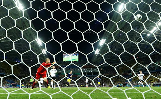 Soccer Football - World Cup - Group F - Germany vs Sweden - Fisht Stadium, Sochi, Russia - June 23, 2018 Germany's Manuel Neuer looks on as Sweden's Ola Toivonen (not pictured) scores their first goal REUTERS/Michael Dalder