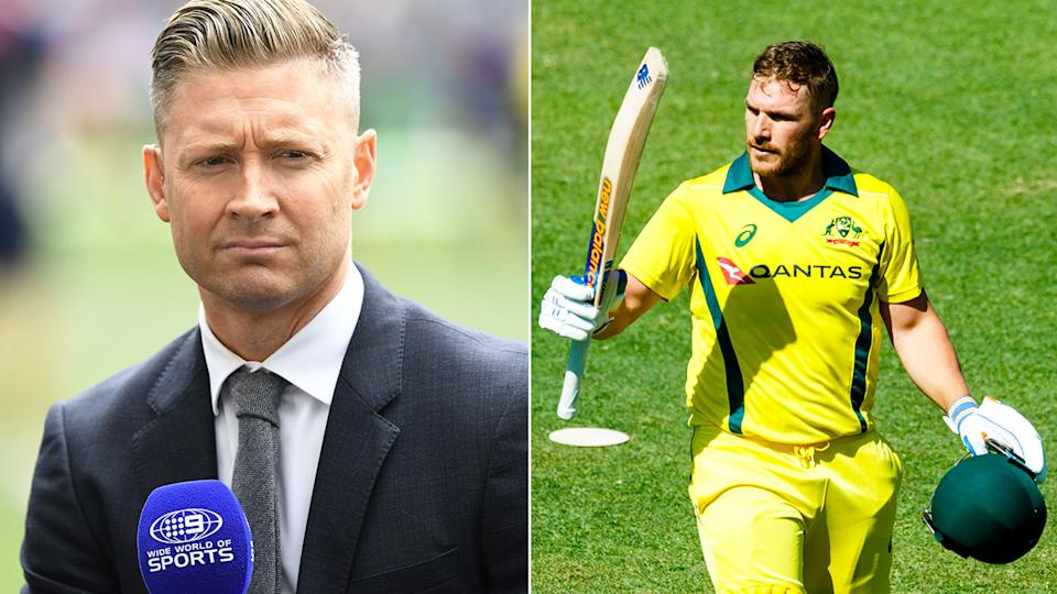 Pictured here, Michael Clarke and Aaron Finch.