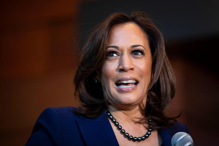 File image: Outrage after niece shares image of Kamala Harris photoshopped as Goddess Durga  (Photo by Al Drago/Getty Images)