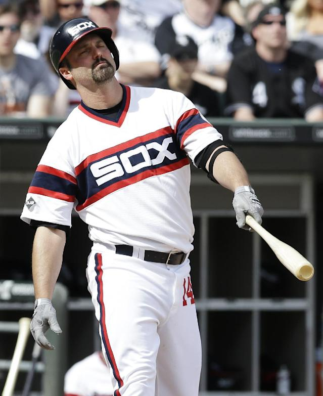 Chicago White Sox's Paul Konerko reacts after being called out on strikes during the ninth inning of a baseball game against the New York Yankees in Chicago on Saturday, May 24, 2014. The Yankees won 4-3. (AP Photo/Nam Y. Huh)