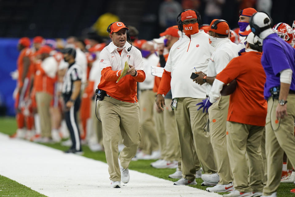 Clemson head coach Dabo Swinney yells during the first half of the Sugar Bowl NCAA college football game against Ohio State Friday, Jan. 1, 2021, in New Orleans. (AP Photo/Gerald Herbert)