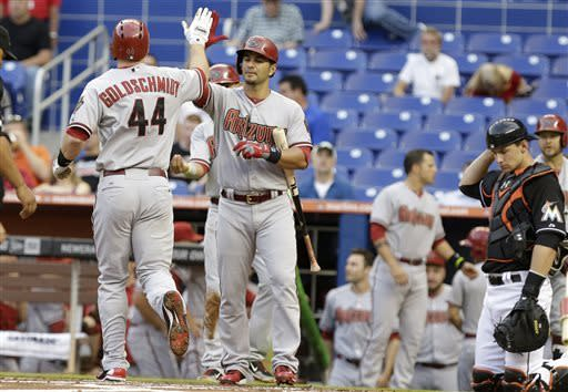 Arizona Diamondbacks' Paul Goldschmidt (44) is met by a teammate after hitting a two-run home run in the first inning during a baseball game against the Miami Marlins in Miami, Friday, May 17, 2013. Marlins catcher Rob Brantly, right, looks on. (AP Photo/Lynne Sladky)