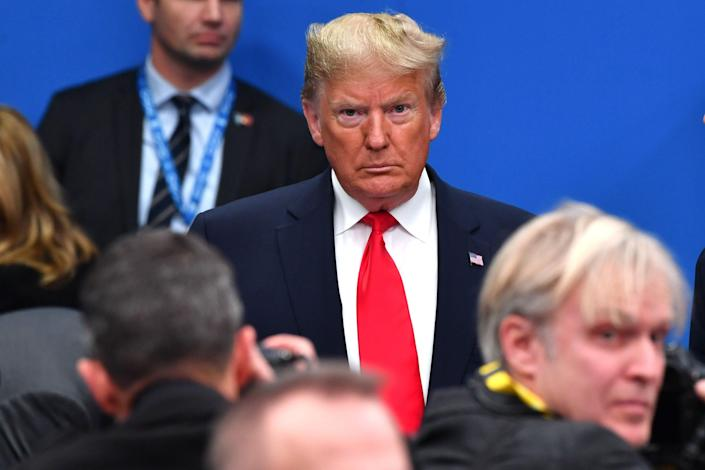President Donald Trump attends the plenary session of the NATO summit in London on Dec. 4, 2019.