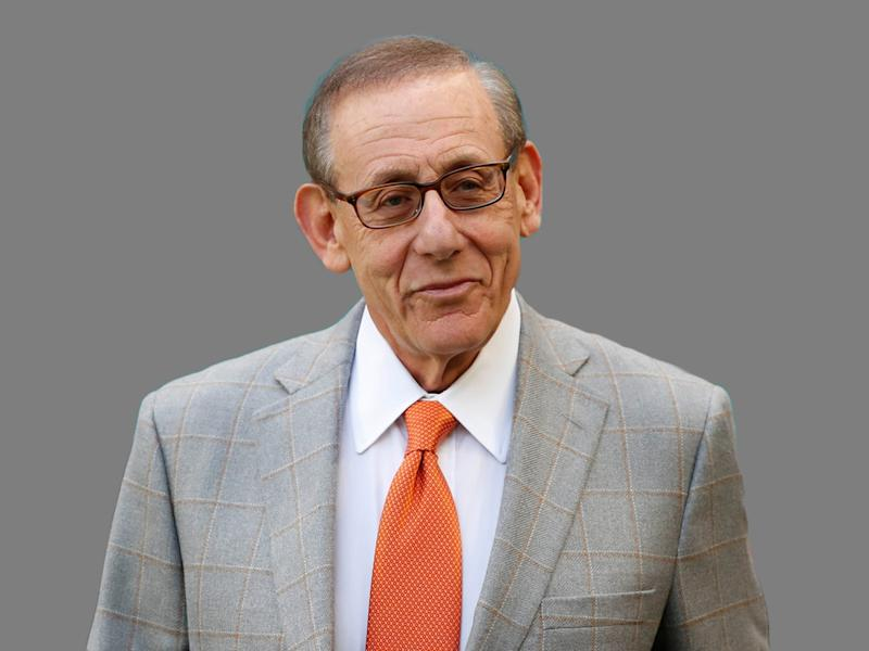 Stephen Ross headshot, as Miami Dolphins owner, graphic elemnet on gray