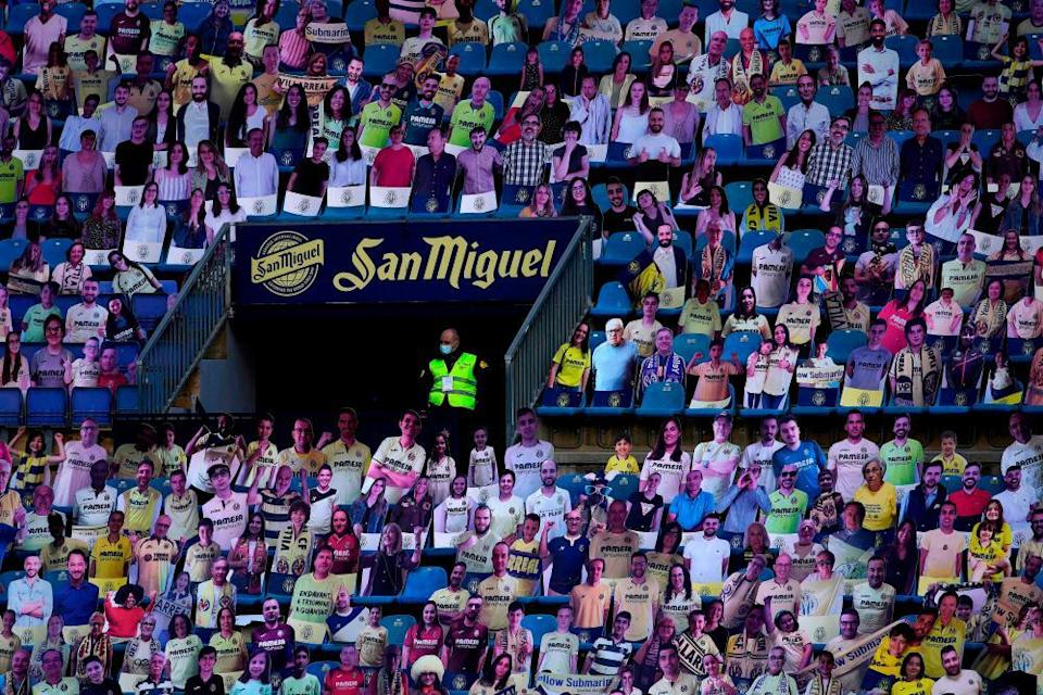 Carboard cutouts – and a steward – at Villarreal this season.