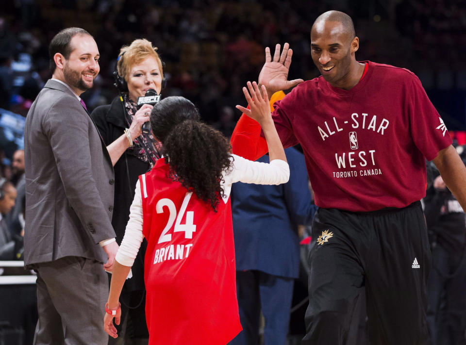 In this Feb. 14, 2016, file photo, Los Angeles Lakers Kobe Bryant (24) high-fives his daughter Gianna on the court in warm-ups before first half NBA All-Star Game basketball action in Toronto. Bryant, his 13-year-old daughter, Gianna, and several others are dead after their helicopter went down in Southern California on Sunday, Jan. 26, 2020. (Mark Blinch/The Canadian Press via AP)