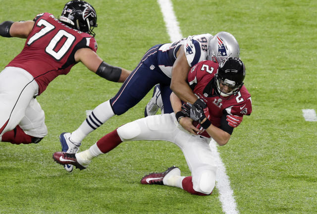 Matt Ryan is sacked by Trey Flowers in the fourth quarter of Super Bowl LI. The 28-3 taunts are still here. (Getty Images).