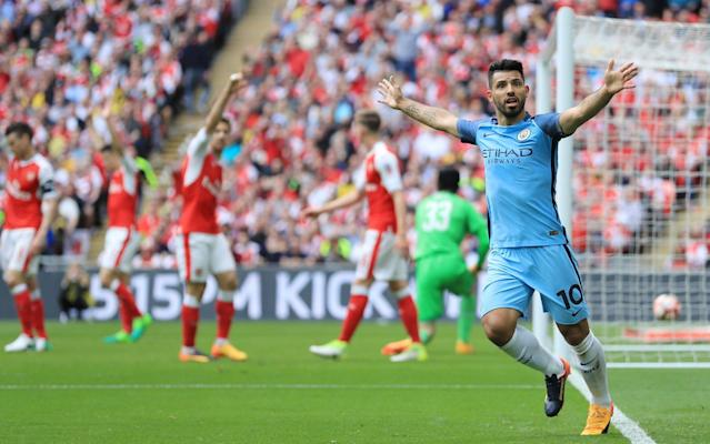 <span>Sergio Agüero reels away in celebration before his effort was chalked off</span> <span>Credit: REX FEATURES </span>