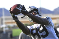 Las Vegas Raiders wide receiver Bryan Edwards makes a catch during an NFL football practice Wednesday, July 28, 2021, in Henderson, Nev. (AP Photo/David Becker)