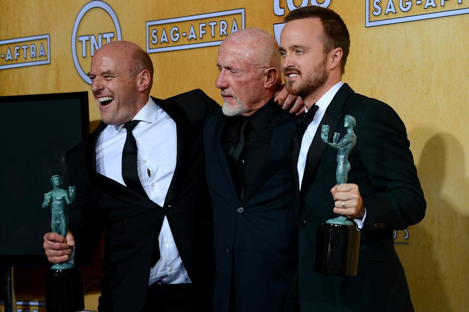 LOS ANGELES, CA - JANUARY 18:  (L-R) Actors Dean Norris, Jonathan Banks and Aaron Paul, winners of the Outstanding Performance by an Ensemble in a Drama Series award for 'Breaking Bad,' pose in the press room during the 20th Annual Screen Actors Guild Awards at The Shrine Auditorium on January 18, 2014 in Los Angeles, California.  (Photo by Ethan Miller/Getty Images)