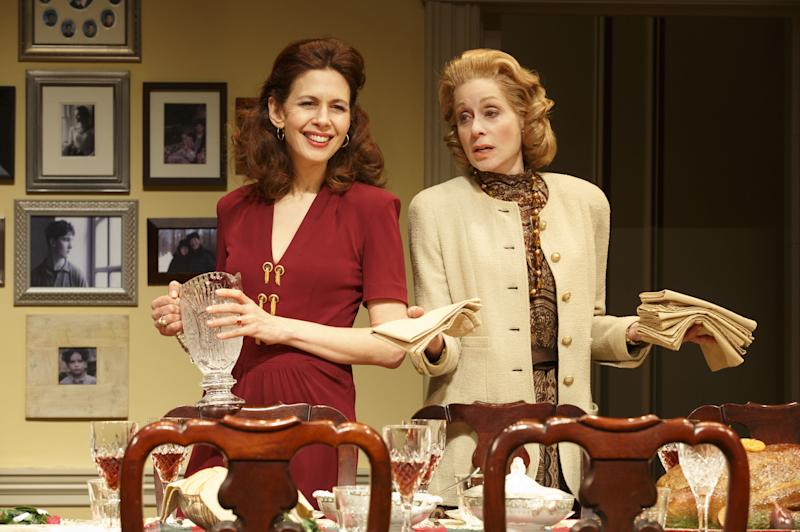 """This theater publicity image released by Boneau/Bryan-Brown shows Jessica Hecht, left, and Judith Light in a scene from """"The Assembled Parties, playing at the Samuel J. Friedman Theatre in New York. (AP Photo/Boneau/Bryan-Brown, Joan Marcus)"""