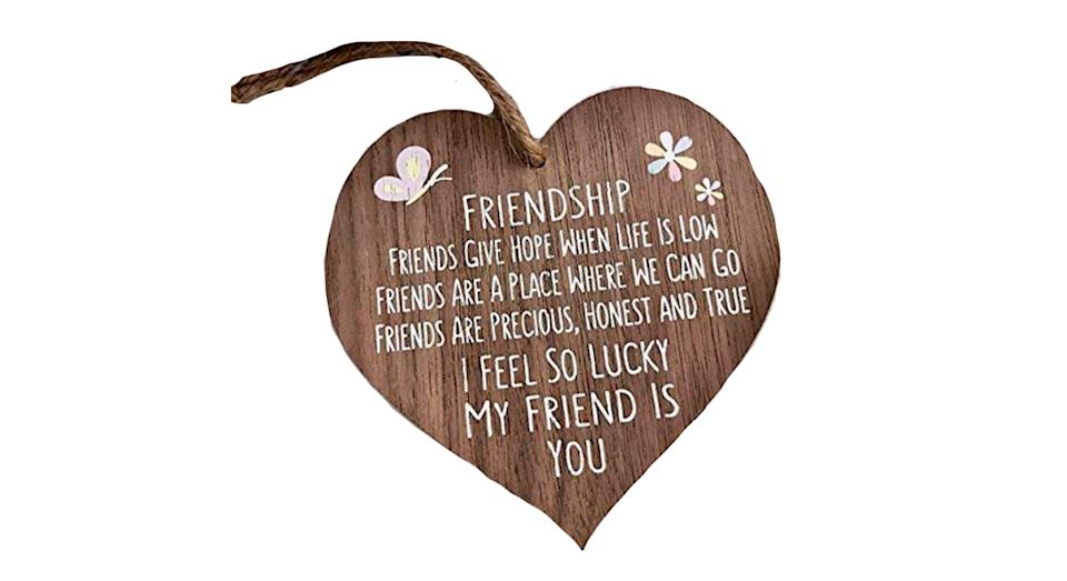 I'm Lucky My Friend Is You Wooden Hanging Heart