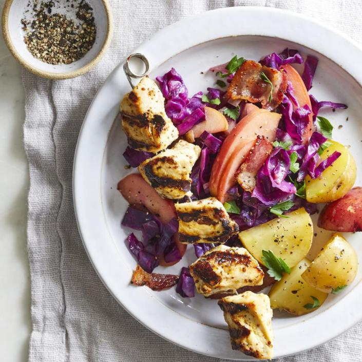 <p>Serve these easy grilled chicken kebabs with apple and cabbage slaw and potatoes for a healthy dinner that's great for summer cookouts. Leave yourself enough time to marinate the chicken for up to three hours in the simple orange-ginger marinade before threading it onto skewers and putting them on the grill.</p>