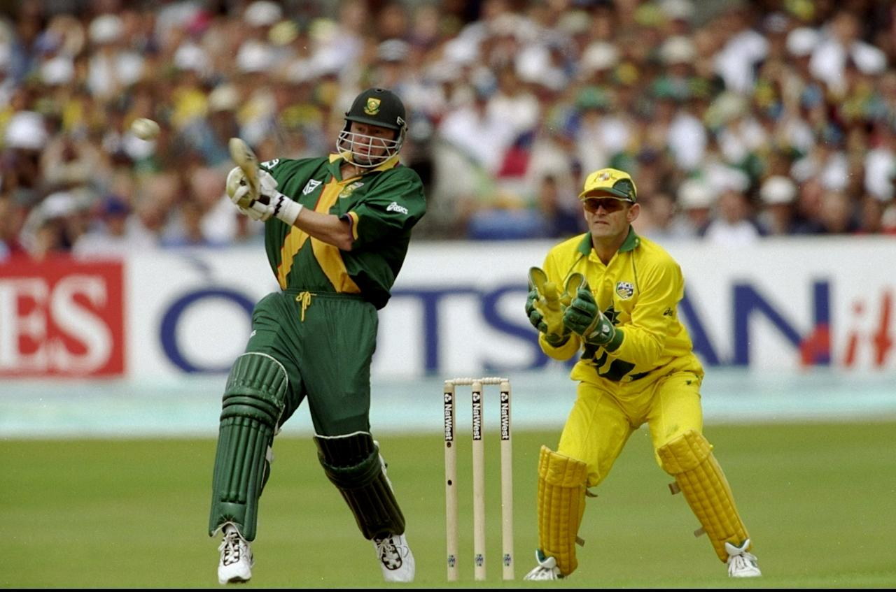 13 Jun 1999:  Lance Klusener of South Africa on his way to 36 against Australia in the World Cup Super Six match at Headingley in Leeds , England. Australia won by 5 wickets to join South Africa in the semi-finals. \ Mandatory Credit: Adrian Murrell /Allsport