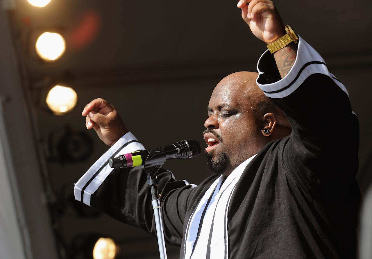 NEW ORLEANS, LA - APRIL 28:  Cee Lo Green performs during the 2012 New Orleans Jazz & Heritage Festival Day 2 at the Fair Grounds Race Course on April 28, 2012 in New Orleans, Louisiana.  (Photo by Rick Diamond/Getty Images)