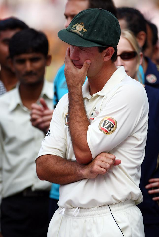 NAGPUR, INDIA - NOVEMBER 10:  Ricky Ponting of Australia looks on during the post-match presentation ceremony after day five of the Fourth Test match between India and Australia at Vidarbha Cricket Association Stadium on November 10, 2008 in Nagpur, India.  (Photo by Michael Steele/Getty Images)