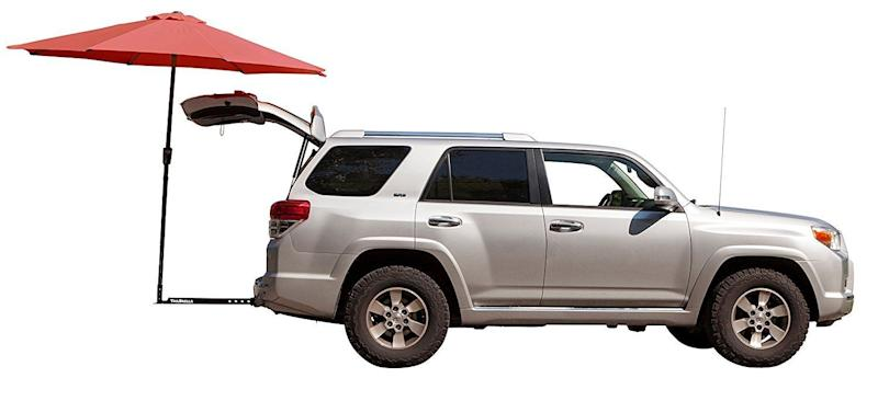 """This tailgate-hitch umbrella is a must-have for your next game. Get it on <a href=""""https://www.amazon.com/Tailbrella-Tailgater-Water-Resistant-Tailgating-Accessories/dp/B0755JLKN8?th=1"""" target=""""_blank"""">Amazon</a>."""