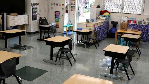 PHOTO: Desks are spaced out in a classroom at Aikahi Elementary School in Kailua, Hawaii on Tuesday, July 28, 2020. (Jennifer Sinco Kelleher/AP)