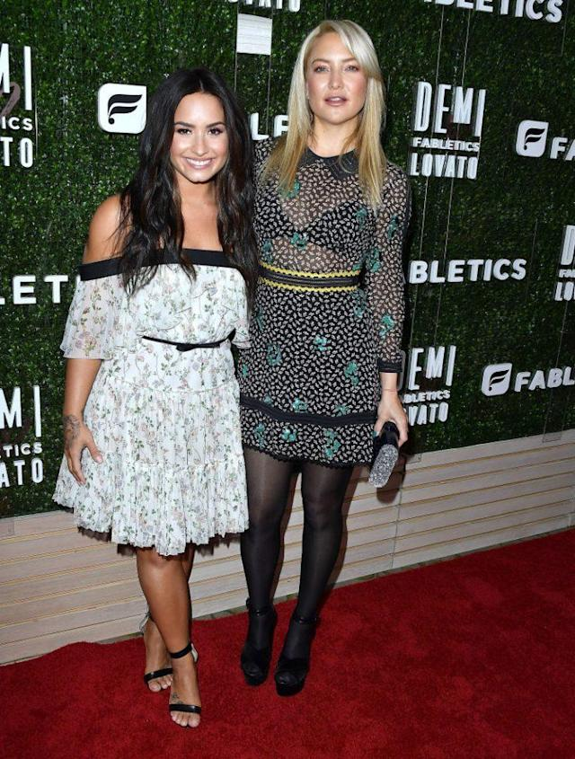 Demi Lovato and Kate Hudson at the Demi Lovato Launches Fabletics Capsule Collection event in Beverly Hills. (Photo: Steve Granitz/WireImage)