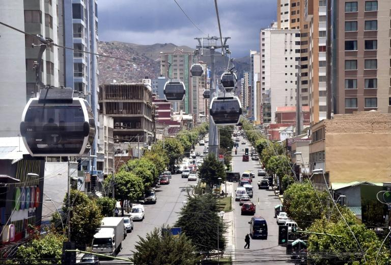 Cablecars on the move in La Paz as the city gets back to normal after weeks of unrest