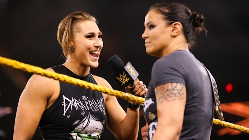 Rhea Ripley taunts NXT women's champion Shayna Baszler during an episode of NXT. (Photo courtesy of WWE)