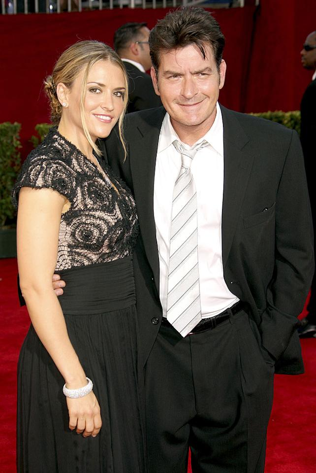 "Charlie Sheen (""Two and a Half Men"") and wife Brooke Mueller arrive at the 61st Primetime Emmy Awards held at the Nokia Theatre on September 20, 2009, in Los Angeles."